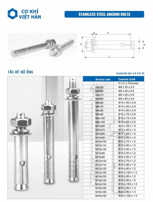 Tắc kê nở inox 316 / 316L   bulong nở inox 316 / 316L