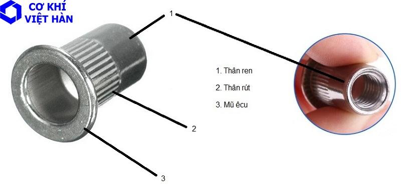Ê cu rút inox / tán rút inox
