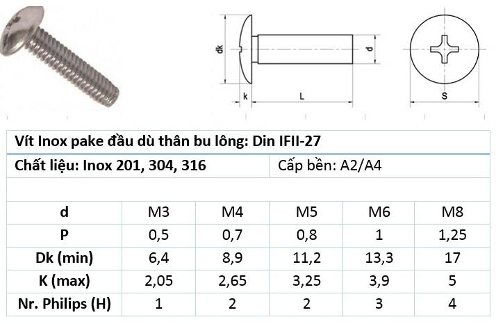 Bulong đầu nấm inox 304 / 201 / 316
